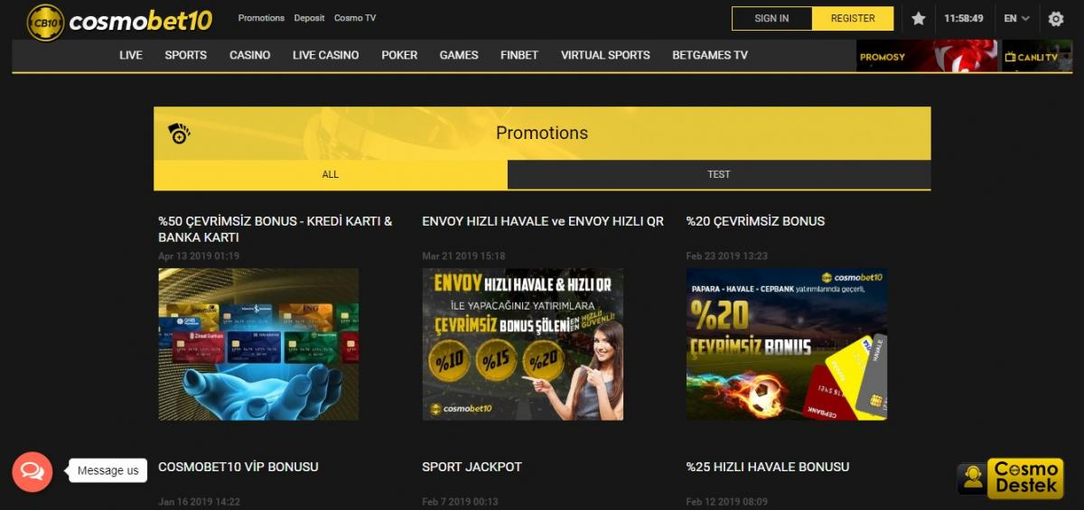 Cosmobet бонус